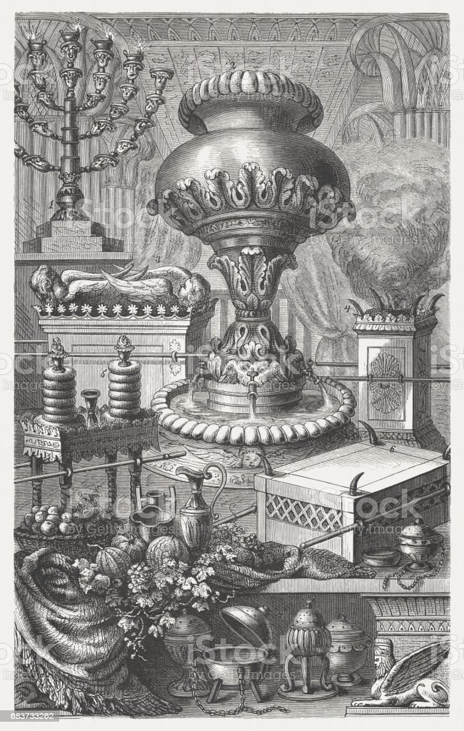 Sacred equipment of the Jews, wood engraving, published in 1880 vector art illustration
