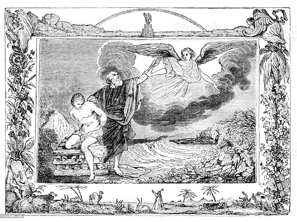 Sacrifice of Isaac vector art illustration