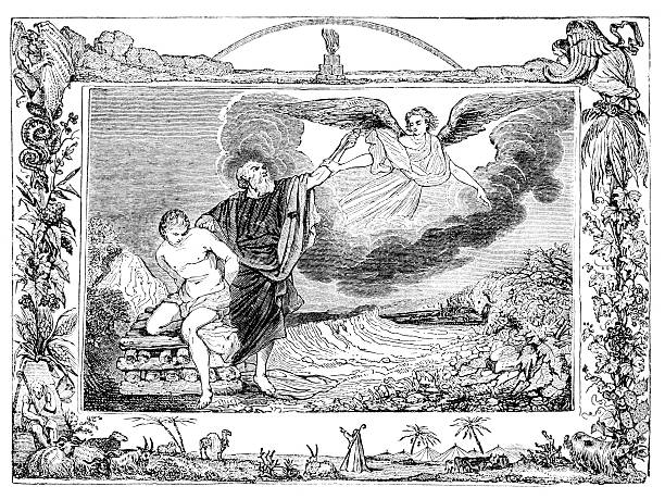 Sacrifice of Isaac Steel engraving Sacrifice of Isaac Abraham stock illustrations