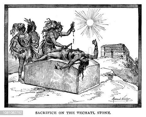 Sacrifice on the Techatl Stone - Scanned 1890 Engraving