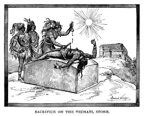 Sacrifice on the Techatl Stone