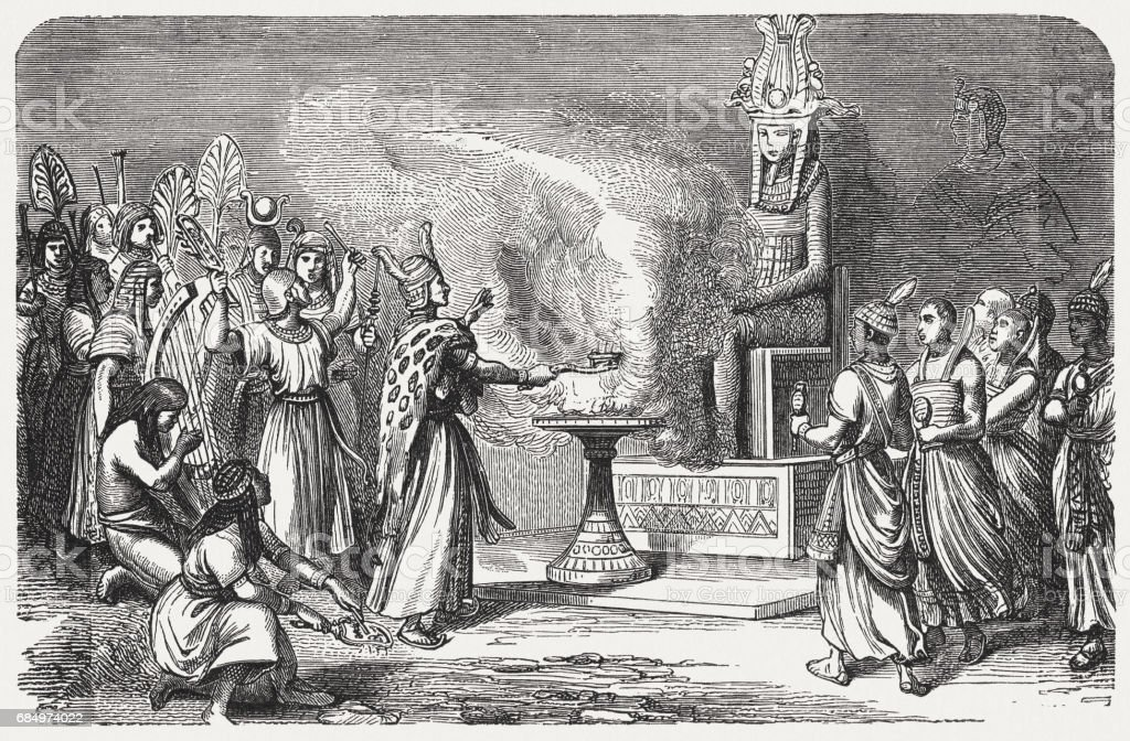 Sacrificing priests in ancient Egypt, wood engraving, published in 1880 vector art illustration