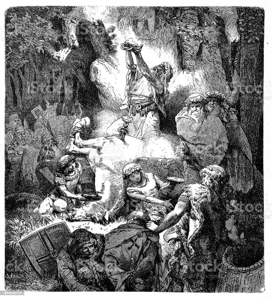 Sacrificing to Heathen Deities vector art illustration