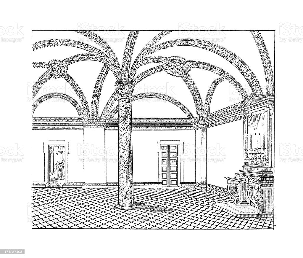 Sacristy of San Martino ai Monti, Rome   Architectural Illustrations royalty-free stock vector art
