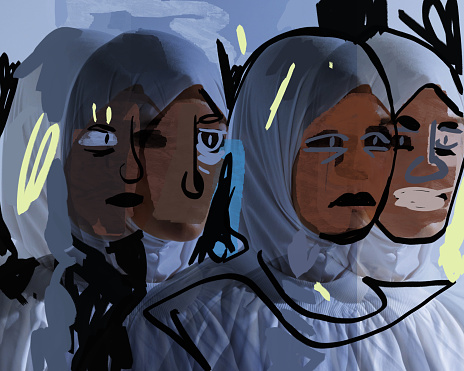 Sad and angry religious women with hijab on head. Group of muslim females with white clothes. Expressionism illustration for print, poster and art product.
