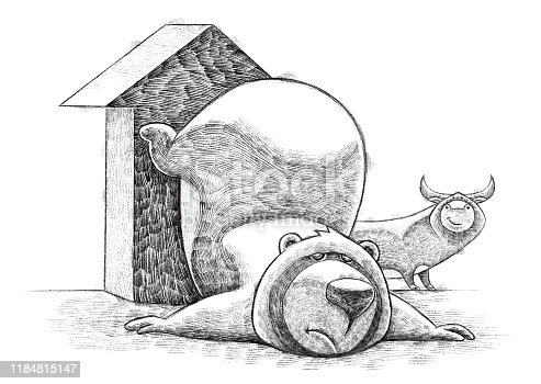 digital painting / raster illustration of sad bear with bull and growing arrow sketch