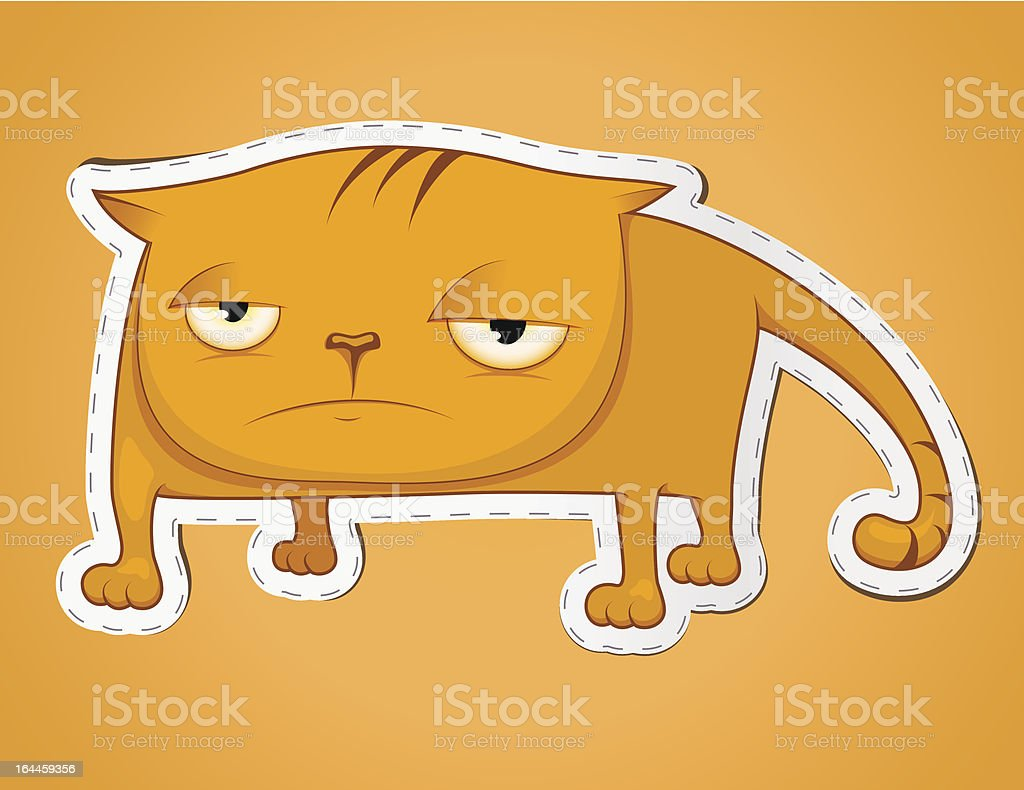 Sad cat sticker vector art illustration