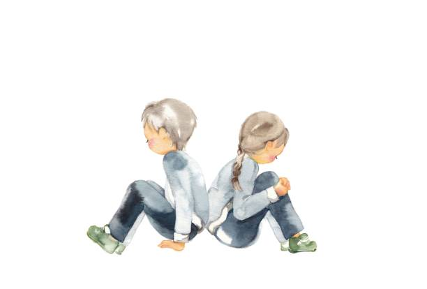 Sad child Sad child 2 children who look down and sit down boy and girl angry stock illustrations