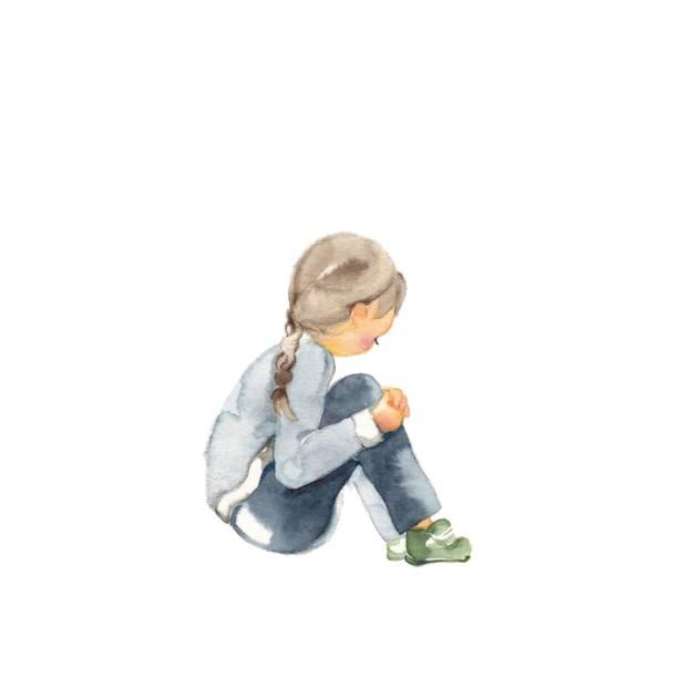 sad child - child abuse stock illustrations