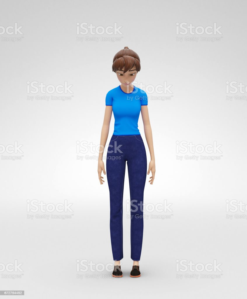 'Sad, Depressed and Frustrated, Jenny - 3D Cartoon Female Character Model - Stands Stooping in Dull Manner ' vector art illustration