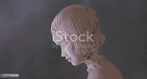 Sad depression alone and loneliness concept surreal artwork, lonely broken woman sculpture , painting art
