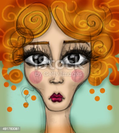 Colorful illustration of sadness. Big eyed girl portrait