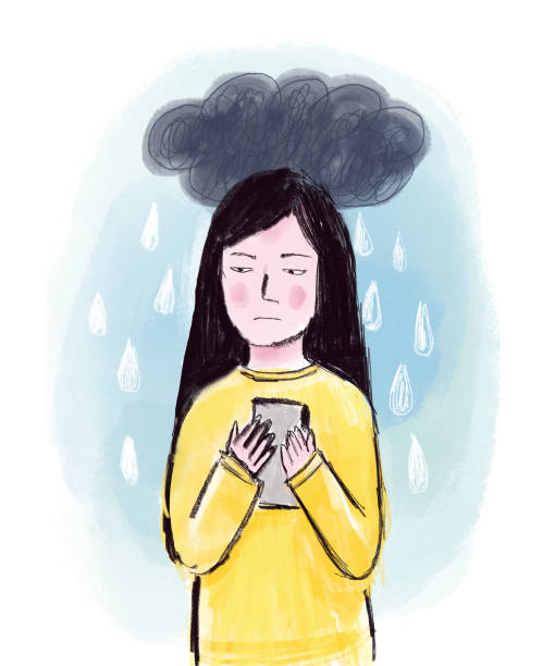 Sad Girl with Mobile Phone and Rain Cloud vector art illustration