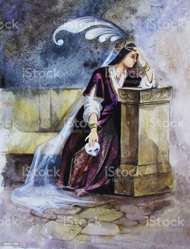 Triste Main Princesse Dessin Illustration Aquarelle Vecteurs