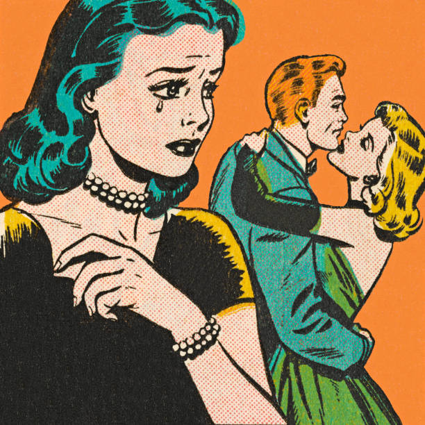 sad woman watching couple hugging - romance stock illustrations, clip art, cartoons, & icons