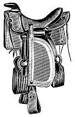 'Antique 19th-century illustration of a saddle (isolated on white). Published in Systematischer Bilder-Atlas zum Conversations-Lexikon, Ikonographische Encyklopaedie der Wissenschaften und Kuenste (Brockhaus, Leipzig) in 1844.'