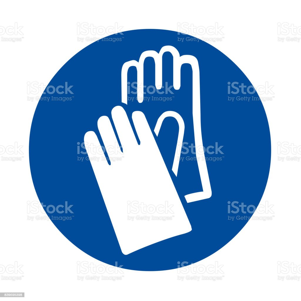 Safety sign hand protection vector art illustration
