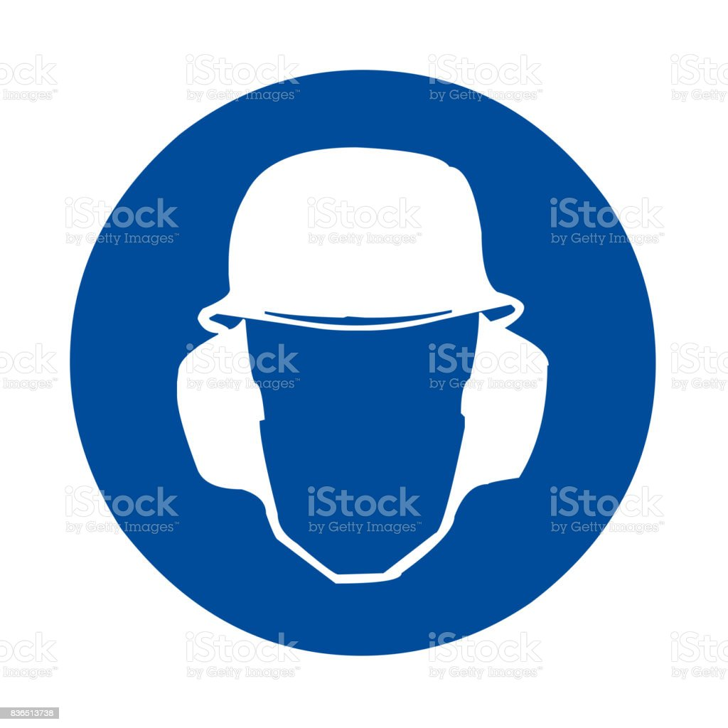 Safety sign head and ear protection vector art illustration
