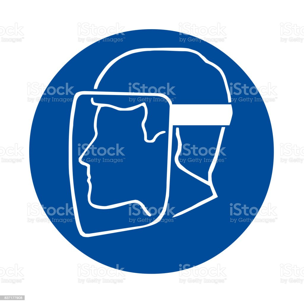 Safety sign with face shield must be worn vector art illustration