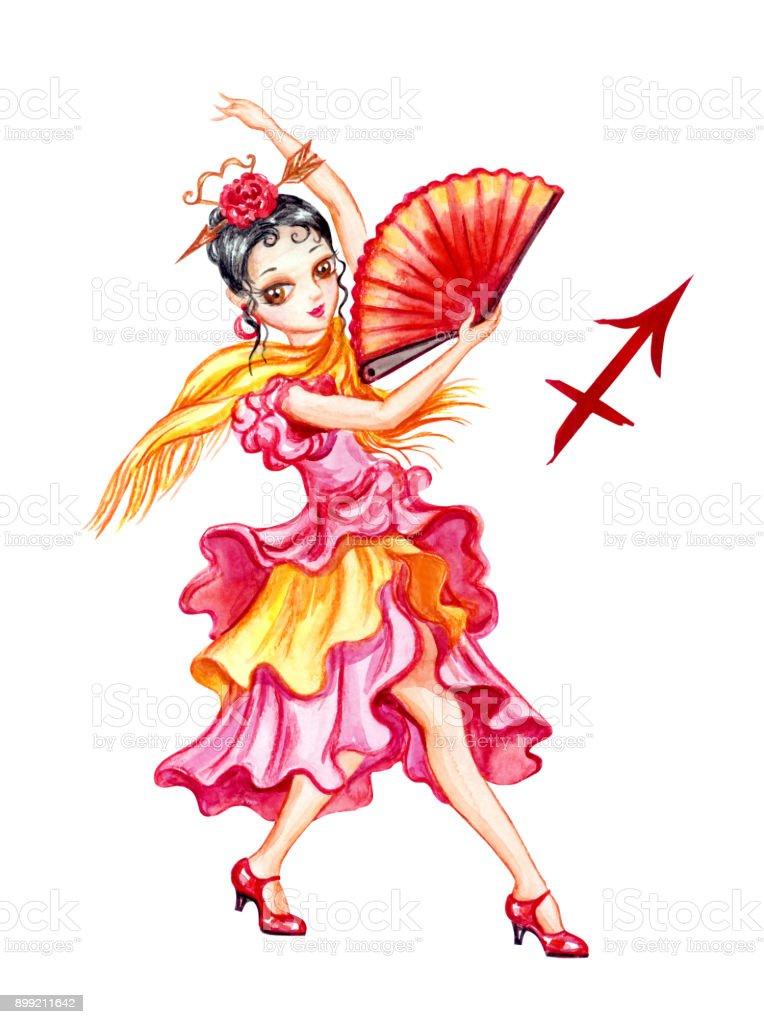 Sagittarius Girl Stock Illustration - Download Image Now - iStock