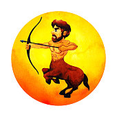 istock sagittarius zodiac astrology horoscope symbol sign logo icon design in fire element color art background watercolor painting cartoon drawing illustration fortune 1295821663