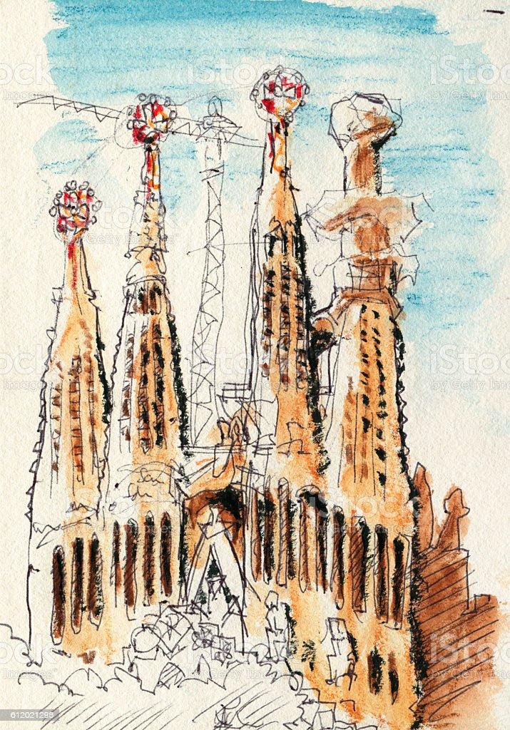 Sagrada Familia Church Barcelona Drawing vector art illustration