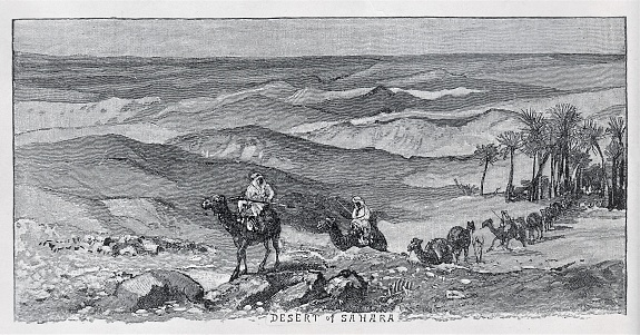 Camel Caravan in Sahara Desert. Illustration published in Physical Geology by Mytton Maury (University Publishing Company, New York and New Orleans) in 1894. Digitally restored.