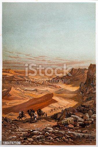 istock Sahara, Desert in Africa, chromolithograph 1304747109