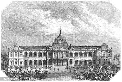 The Saigon Governor's Palace in Saigon, French Cochinchina from Magasin Pittoresque. Vintage etching circa mid 19th century. Later renamed Norodom Palace, in 1975 Independence Palace was built on the site in Ho Chi Minh City, Vietnam.