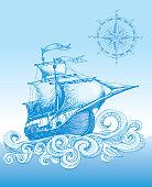 Hand drawn sailboat and compass.