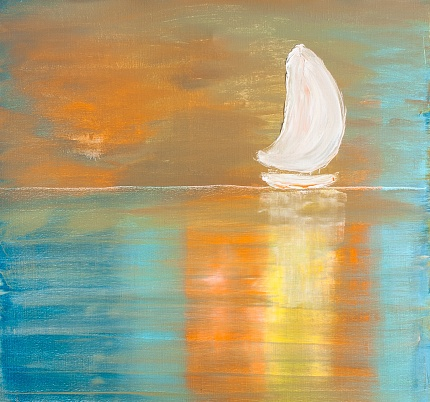 Sailboat in the Ocean Contemporary Art Painting