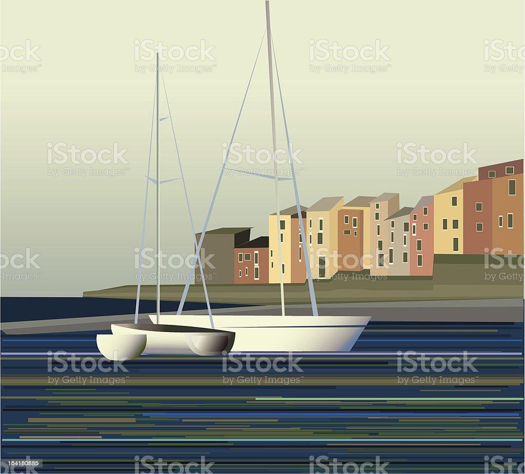 Sailboat near a fishing village, calm sea royalty-free sailboat near a fishing village calm sea stock vector art & more images of beach