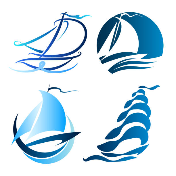 Sailboat symbol set vector art illustration