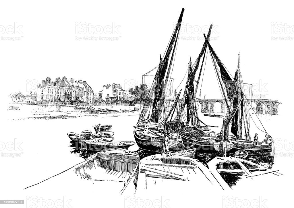 Sailboats on the river Thanmes vector art illustration