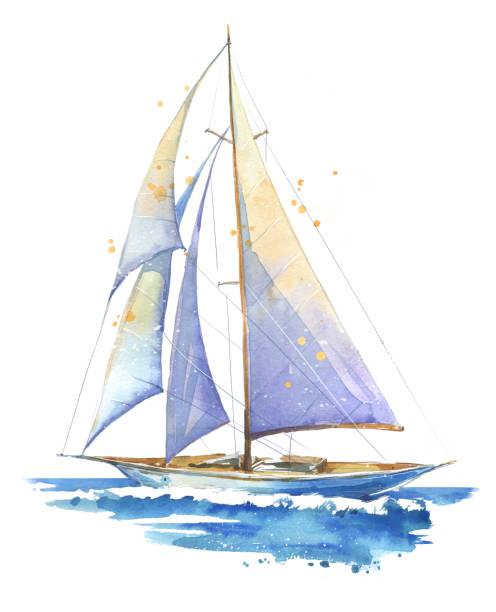 illustrations, cliparts, dessins animés et icônes de voilier, illustration à l'aquarelle peinte à la main - bateau à voile