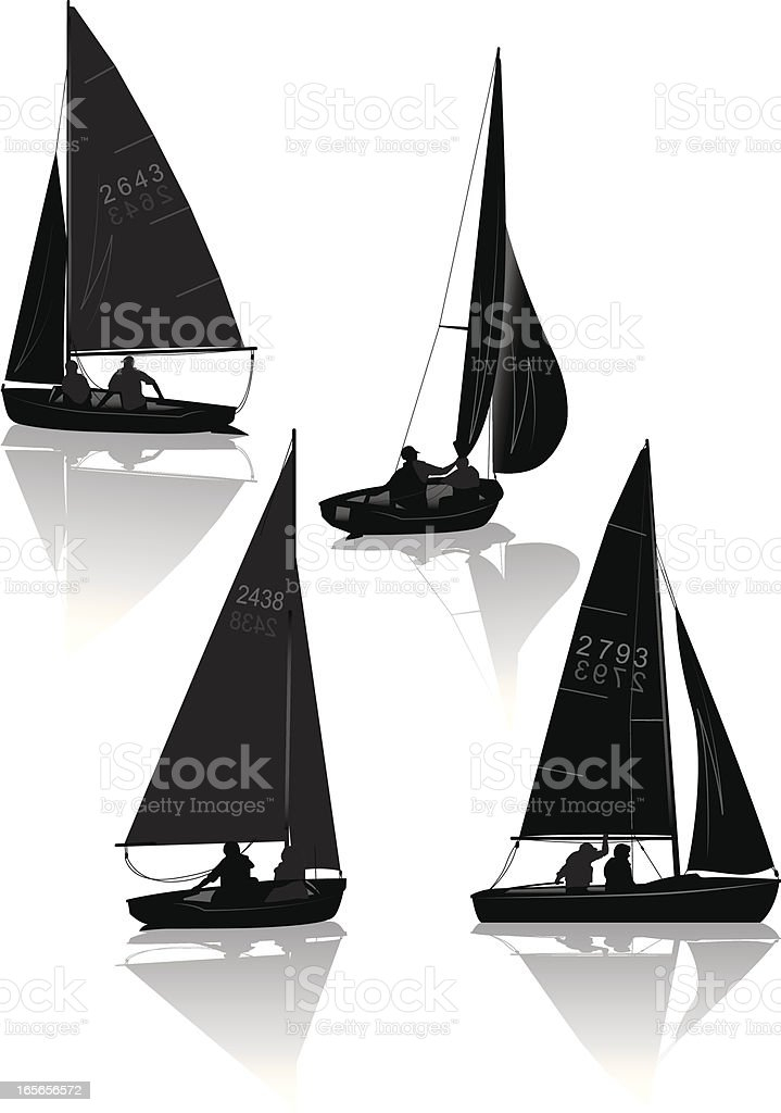 Sailing dinghies royalty-free stock vector art