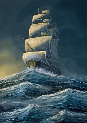 Sailing old ship in the storm sea. Galleon under the dark sky. Digital painting illustration.