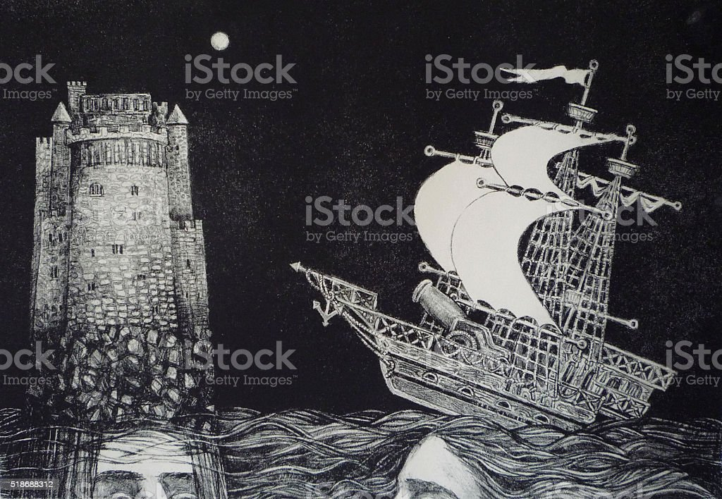 Sailing ship and the fortress. Lithography (engraving on stone). vector art illustration