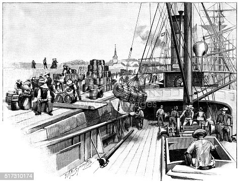 "A cargo ship loading or unloading barrels beside a quay. From ""The Cottager and Artisan: The People's Own Paper"" illustrated by various artists and published by The Religious Tract Society, London, in 1896."