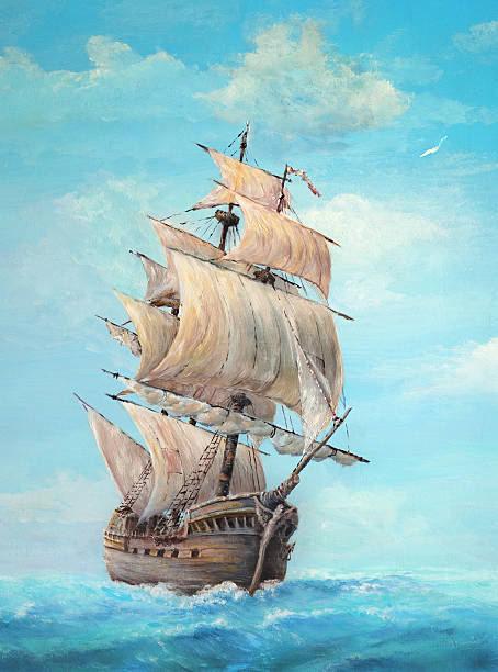 Sailing ship on a clear day, oil painting Oil painting of an old sailing ship on a clear day, my own artwork. pirate ship stock illustrations