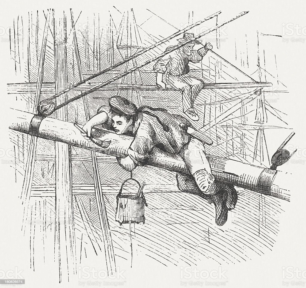 Sailor paints the jib boom, wood engraving, published in 1877 royalty-free stock vector art