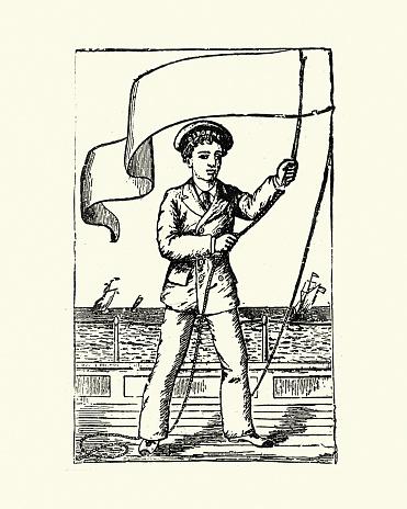 Sailor raising the Pennon (pennant) flag, 19th Century