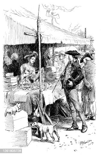 Sailor shopping at the fair - Scanned 1890 Engraving