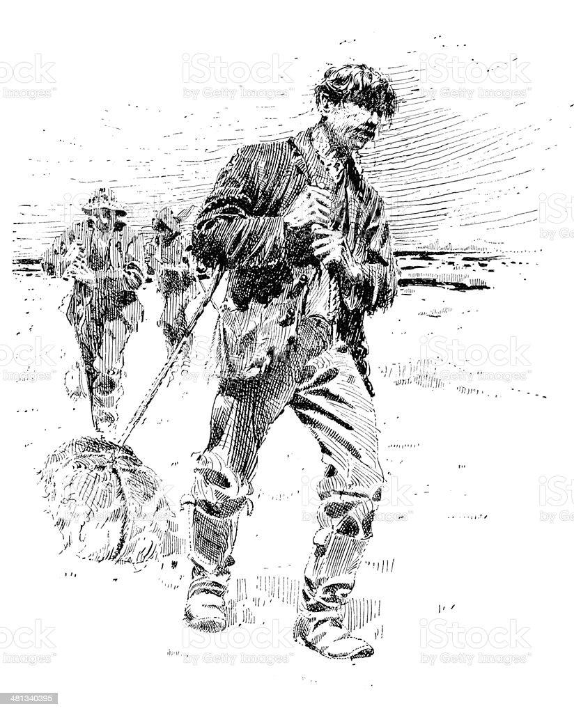 Sailors dragging pelt bundles on ice vector art illustration