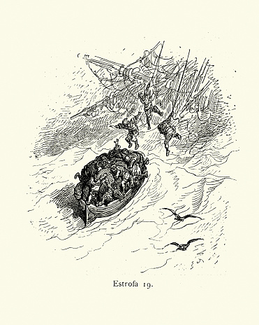 Sailors in a lifeboat, sinking ship