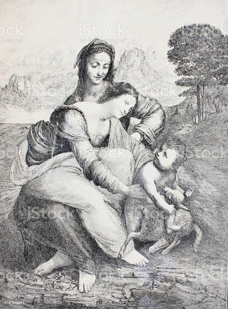 Ilustracion De Santa Ana Virgen Y Nino Jesus De Leonardo Da Vinci En