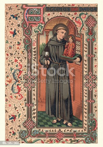 Vintage engraving of Saint Anthony of Padua, born Fernando Martins de Bulhoes (1195 – 13 June 1231), also known as Anthony of Lisbon, was a Portuguese Catholic priest and friar of the Franciscan Order.