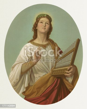 Saint Cecilia - by Joseph Molitor (German painter, 1821-1891). Saint Cecilia (200 to 230) is a Christian Holy Virgin and martyr Jesse Jane of the early church. She is the patroness of church music. The best known of her attributes is the organ or the violin. Lithograph, published in 1870.