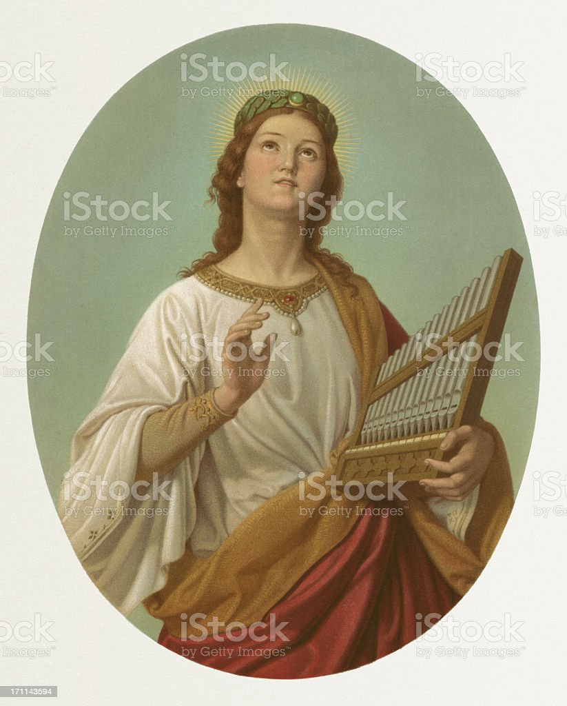 Saint Cecilia, lithograph after Joseph Molitor (1821-1891), published in 1870 vector art illustration