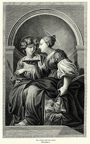 Saint Cecilla y St Lucia - ilustración de arte vectorial